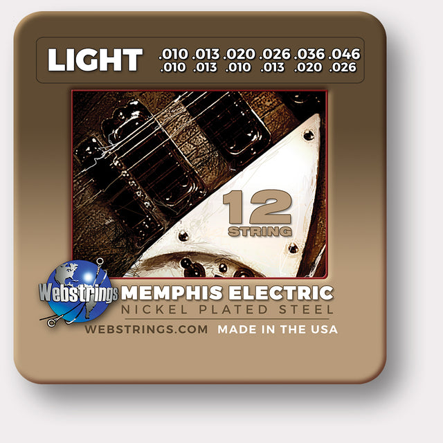 WEBSTRINGS MEMPHIS ELECTRIC Guitar Strings, Nickel Plated Steel, 12 String Set. The Rickenbacker set, this 12 string electric set is gauged exactly the same way as the original strings from Rickenbacker, Exceptional Tone and Quality along with long life and the lowest price.