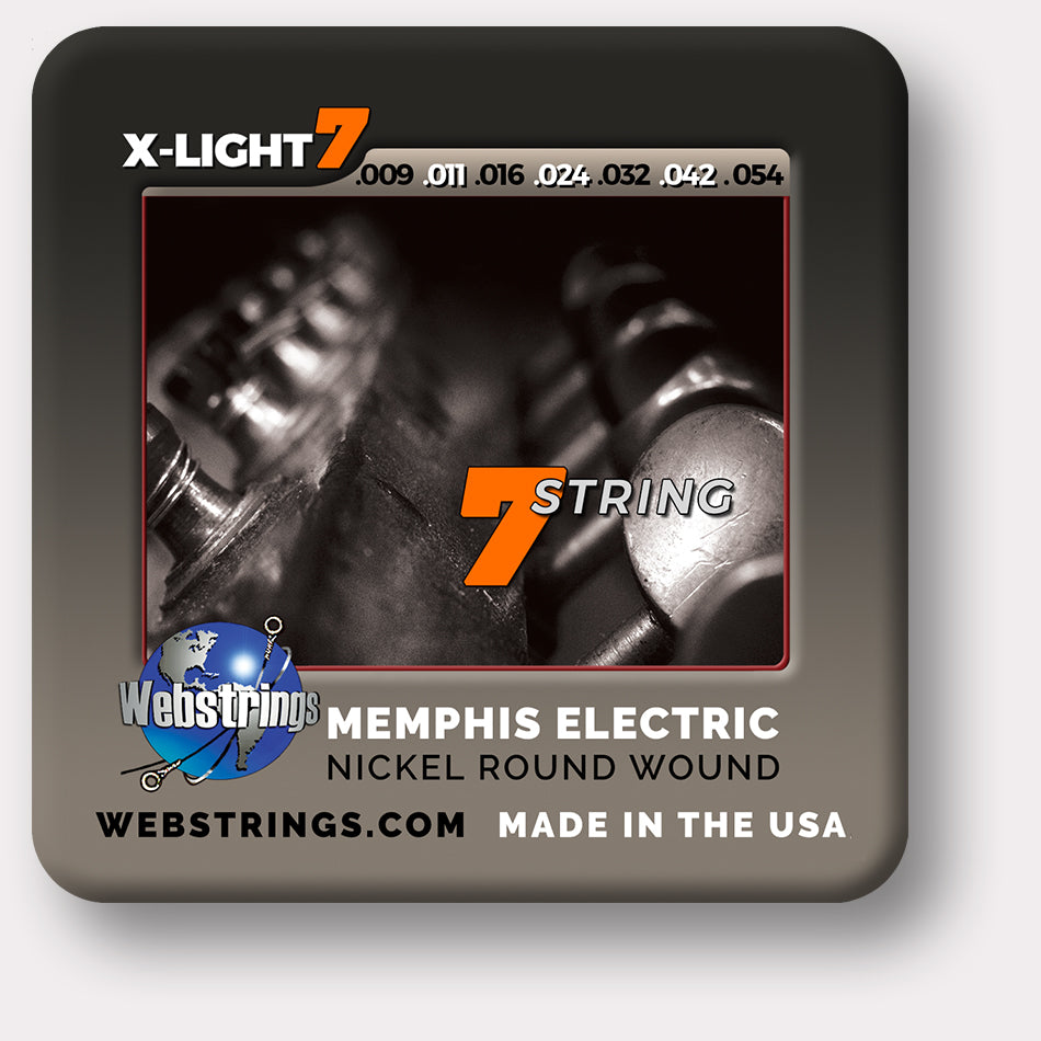Webstrings Memphis Electric 7 String Nickel Guitar Strings, Exceptional Tone and Quality along with long life and the lowest price. Webstrings Electric 7 String Nickel Guitar Strings feel and sound incredible. Webstrings Memphis Electric 7 String Nickel guitar strings are an exceptional value. Made in the USA
