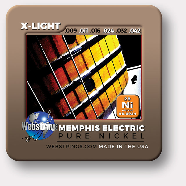 Webstrings Memphis Electric Pure Nickel Guitar Strings, Exceptional Tone and Quality along with long life and the lowest price. Webstrings Memphis Electric Pure Nickel Guitar Strings feel and sound incredible. Webstrings Memphis Electric Pure Nickel guitar strings are an exceptional value. Made in the USA