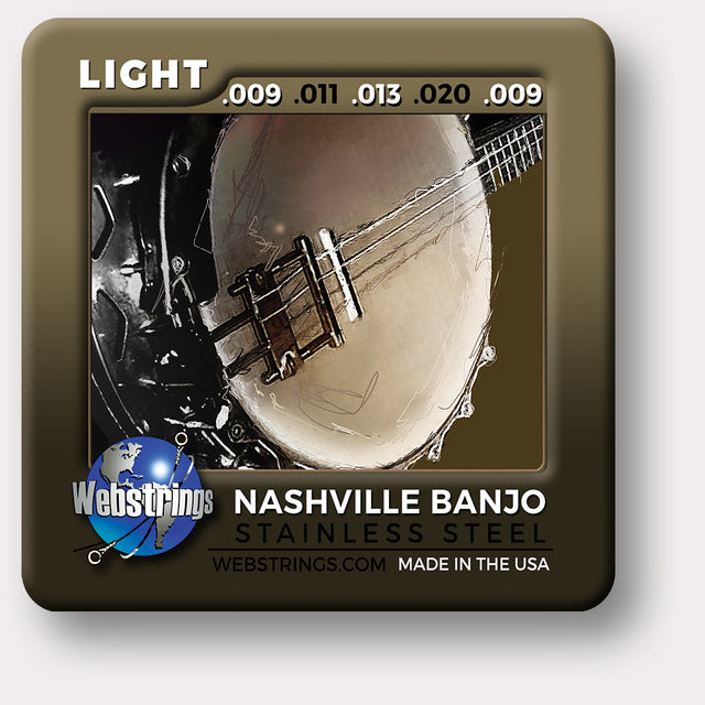 Webstrings Nashville Stainless Steel Loop End Banjo Strings, Exceptional Tone and Quality along with long life and the lowest price. Webstrings Nashville Stainless Steel Loop End Banjo Strings feel and sound incredible. Webstrings Nashville Stainless Steel Banjo strings are an exceptional value. Made in the USA