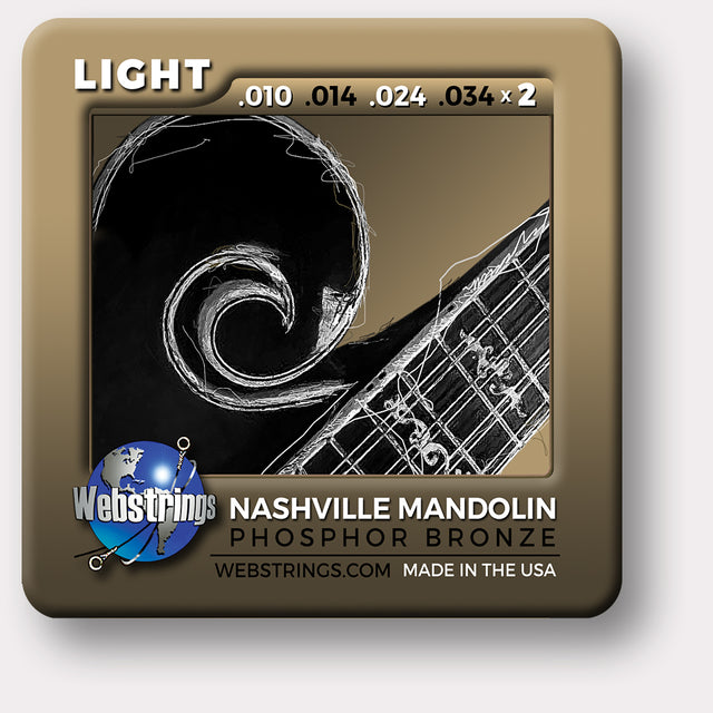 Webstrings Nashville Phosphor Bronze Loop End Mandolin Strings, Exceptional Tone and Quality along with long life and the lowest price. Webstrings Nashville Phosphor Bronze Loop End Mandolin Strings feel and sound incredible. Webstrings Nashville Phosphor Mandolin strings are an exceptional value. Made in the USA