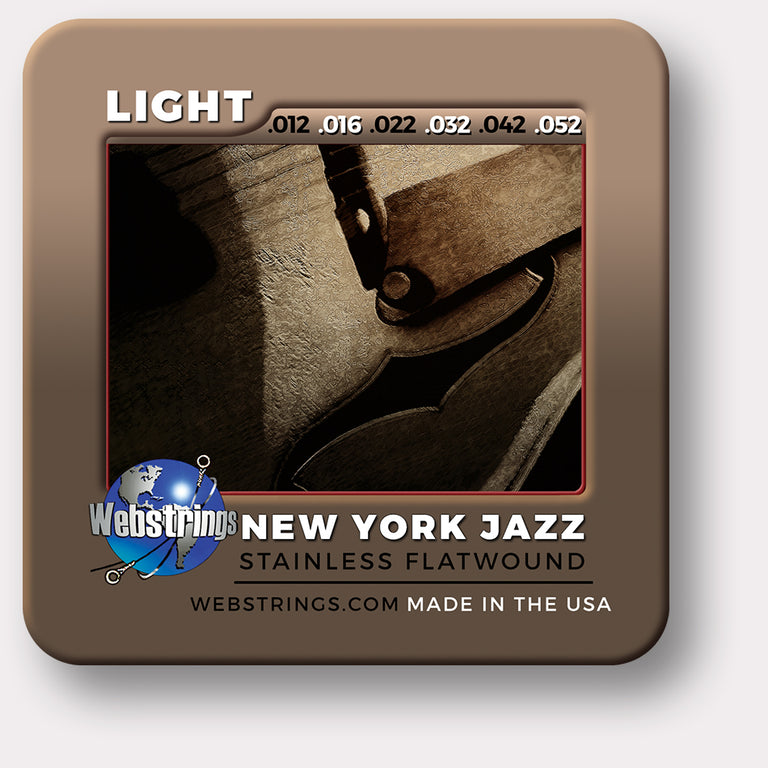 Webstrings New York Jazz Stainless Steel Flat Wound Electric Guitar Strings. Exceptional Tone and Quality along with long life and the lowest price. Webstrings New York Jazz Flat Wound Guitar Strings feel and sound incredible. Webstrings New York Jazz Flat Wound guitar strings are an exceptional value. Made in the USA