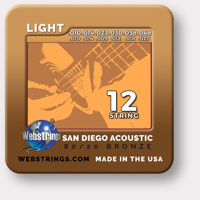 Webstrings San Diego Acoustic 80/20 Bronze Acoustic Guitar Strings,  Exceptional Tone and Quality along with long life and the lowest price. Webstrings San Diego Acoustic guitar strings feel and sound incredible. Webstrings San Diego Acoustic guitar strings are an exceptional value. Made in the USA