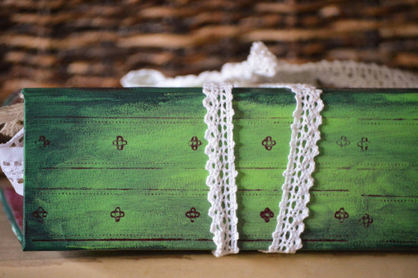 hand painted spine on wedding guestbook
