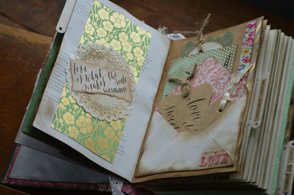 envelope pocket detail in wedding guestbook