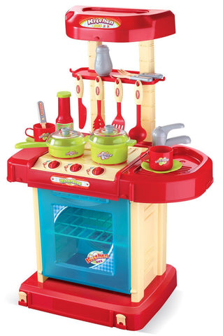 Berry Toys BR008-56A Play & Carry Plastic Play Kitchen - Red - WarehouseSpot