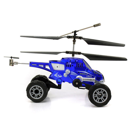 Merske MK10037 RC Helicopter 3.5 Ch Multi-Purpose Flying Fired Missiles Control Driving On Land Car - Blue - 1