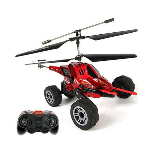 Merske MK10038 RC Helicopter 3.5 Ch Multi-Purpose Flying Fired Missiles Control Driving On Land Car - Red - 1