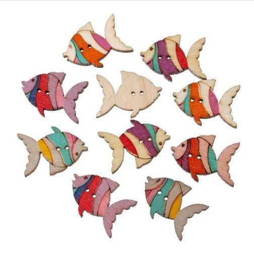 Merske MK10066 Wood Sewing Scrapbooking Button Fish Two Holes 26.0Mm(1