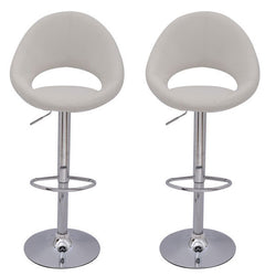 Mochi Furniture Adjustable Lowell Gas Lift Swivel Stool - White (Set of 2)