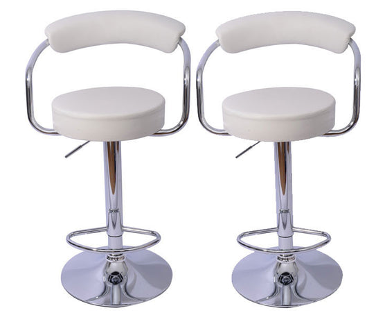Mochi Furniture Adjustable Danvers Gas Lift Swivel Stool - White (Set of 2)
