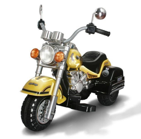 Harley Style Kid's Chopper Style Motorcycle - Yellow - Peazz.com