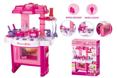 Berry Toys BR008-26 Fun Cooking Plastic Play Kitchen - Pink - Peazz.com