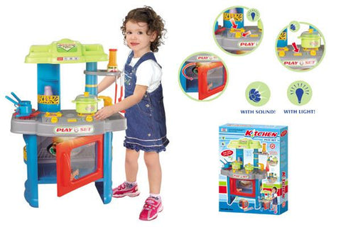Berry Toys BR008-26A Fun Cooking Plastic Play Kitchen - Blue - Peazz.com