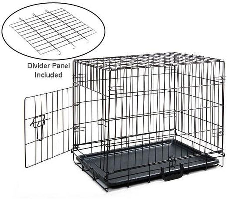 "MDOG2 CR0001S-BLK Folding Metal Dog Crate with Divider Panel - 24"" x 18"" x 20"" - Peazz.com"