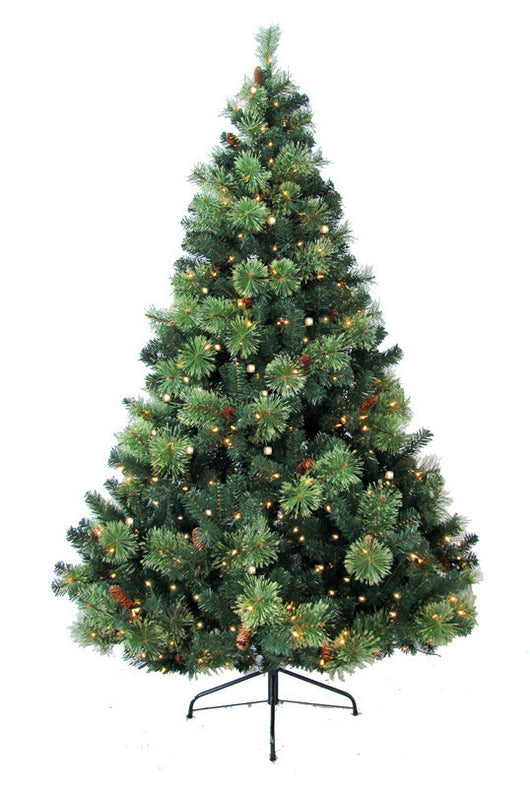 Jolly Workshop JW-CH08 8' Prelit Artificial Charlotte Pine Tree 750 Clear Lights, 86 Pine Cones, 1460 Tips With Metal Stand