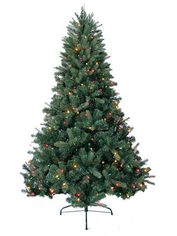 Jolly Workshop JW-DW07 7' Prelit Artificial Deerwood Fir Tree 600 Multi-Colored Lights, 1052 Tips With Metal Stand