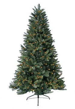 Jolly Workshop JW-HF07 7' Prelit Artificial Highland Fir Tree 450 LED Warm Lights, 1325 Tips With Metal Stand