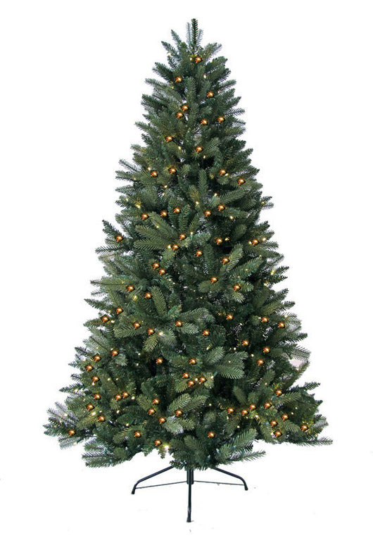 Jolly Workshop JW-HF08 8' Prelit Artificial Highland Fir Tree 600 LED Warm Lights, 1797 Tips With Metal Stand