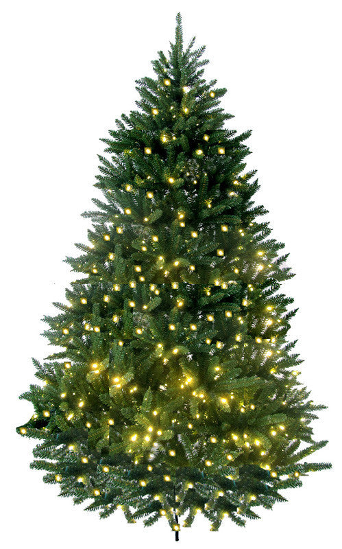 Jolly Workshop JW-LW07 7' Prelit Artificial Lakewood Fir Tree 600 LED Warm Lights, 1640 Tips With Metal Stand