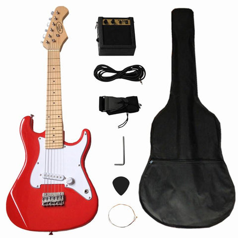 "Berry Toys MKAGT31-ST2-RD 32"" Electric Guitar Set with 5W Amplifier, Guitar Bag, Cable, Strap, Picks - Red - Peazz.com"