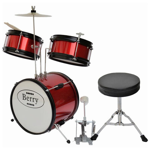 Berry Toys MKMU-3KS-RD Complete Kids Small Drum Set with Cymbal, Stool, and Sticks - Red - Peazz.com