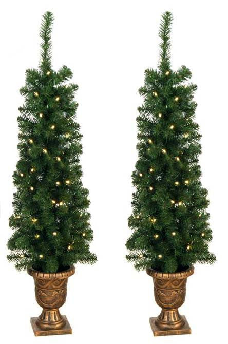 Prelit 4' Entryway Porch Tree - Set of 2 - 140 Tips, 60 UL Lights