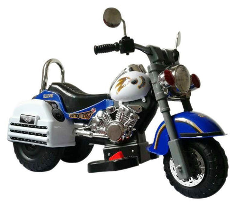 Harley Style 6V Battery Operated Kids Motorcycle (Blue & White) - Peazz.com