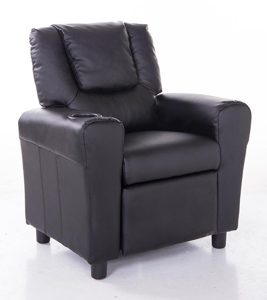 Mochi Furniture KR2009BK Comfortable KR2009BK Black PU Leather Kids Recliner with Cup Holder
