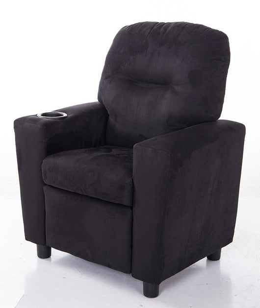 Mochi Furniture KR2056BK Comfortable KR2056BK Black Microfiber Kids Recliner with Cup Holder