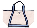 Signature tote with light blue and navy strap