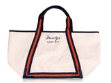 Signature tote with orange and navy strap
