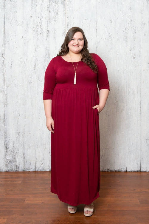 April Solid Dress in Deep Red