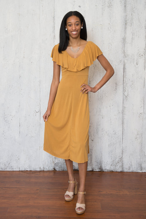 Kara Ruffled Dress In Mustard