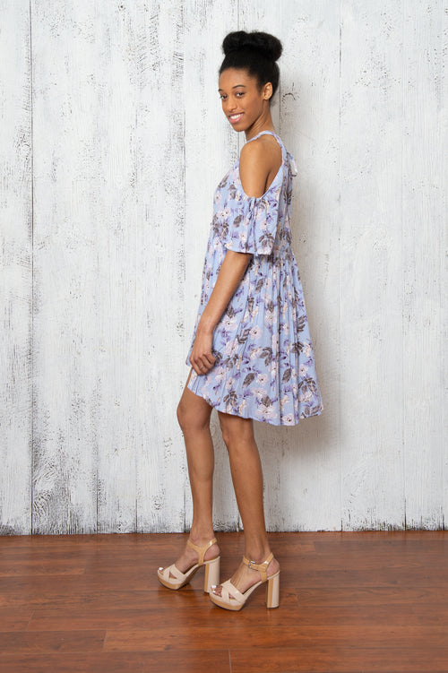 Joy Floral Dress in Baby Blue
