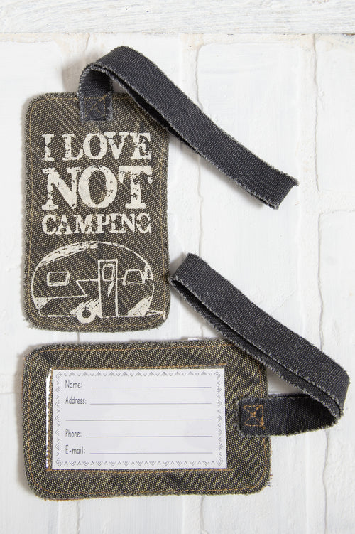 I Love Not Camping Luggage Tag