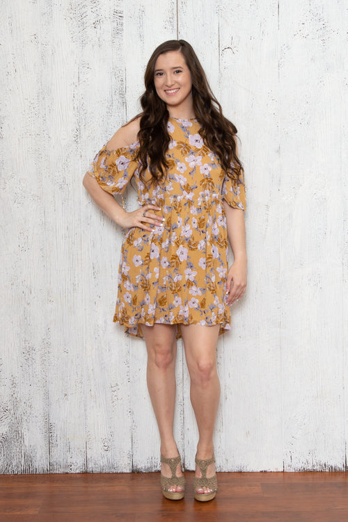 Joy Floral Dress in Mustard