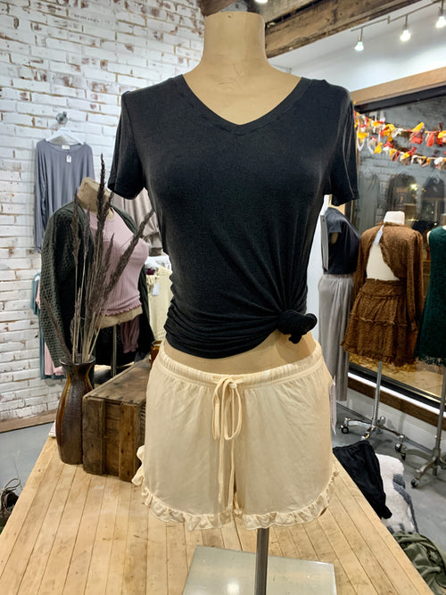 Honey Ruffle Shorts in Vintage Yellow