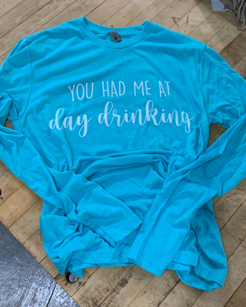 Day Drinkin Long Sleeve Tee in Neon Blue