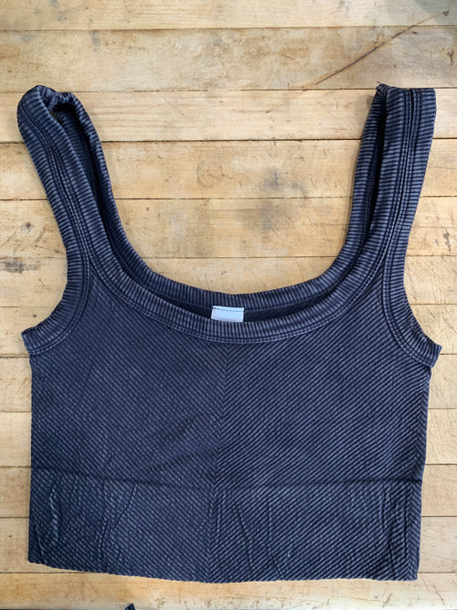 Ribbed Crop Top in Vintage Black