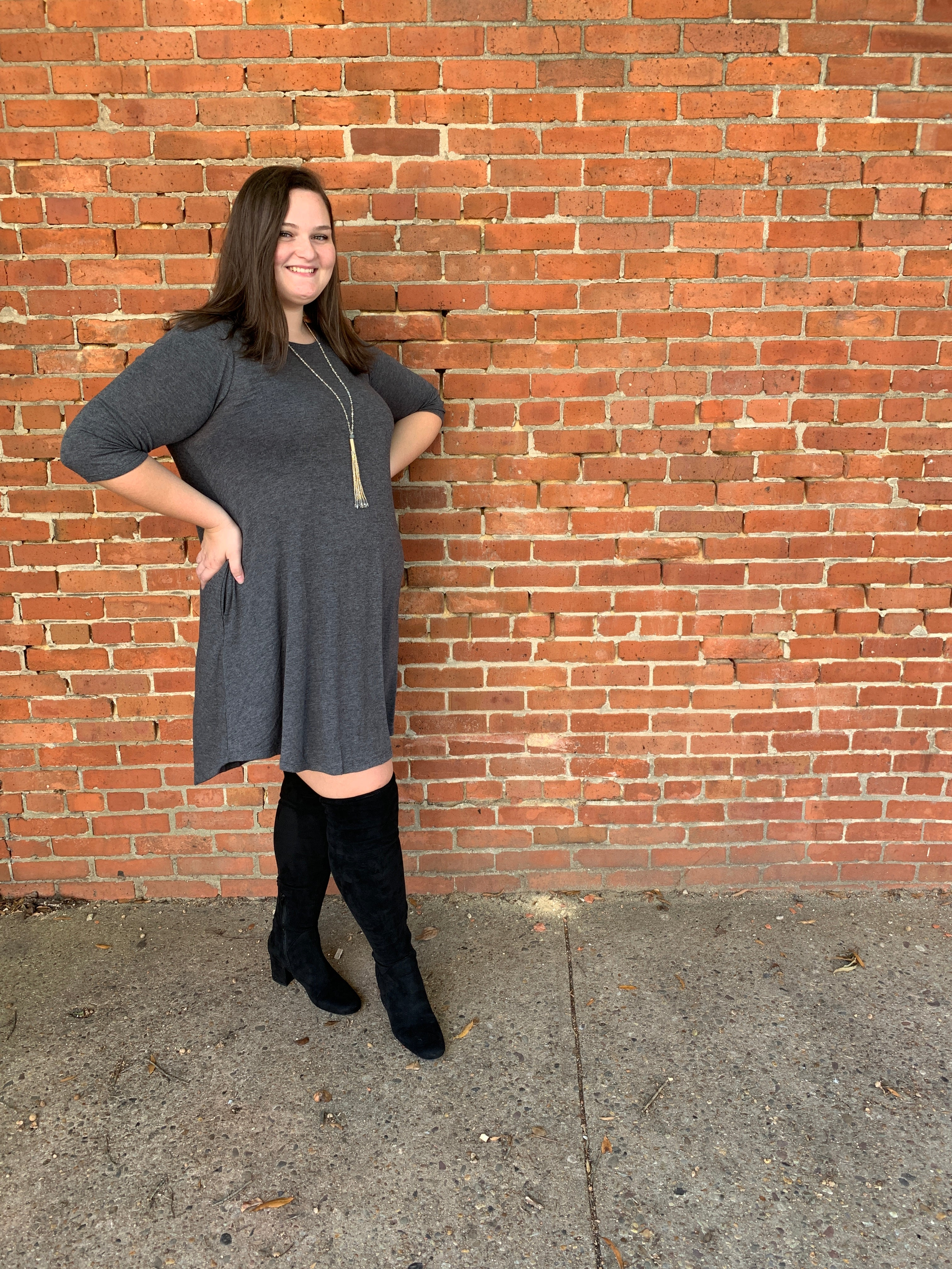 Carson Dress in Charcoal