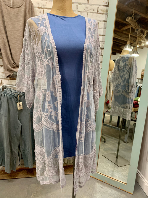 Lauren Lace Kimono in Dusty Grey