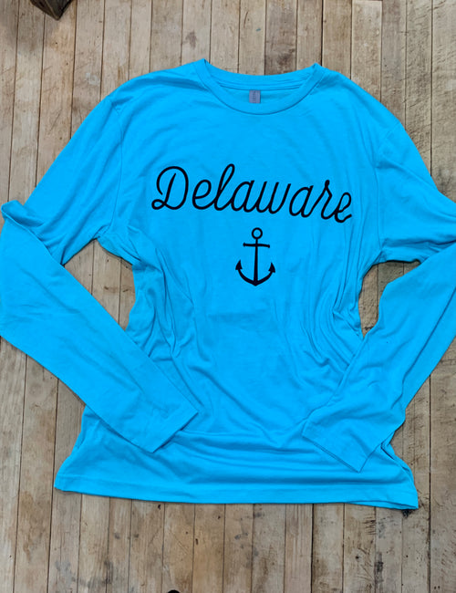 Delaware with Anchor Long Sleeve Tee in Neon Blue