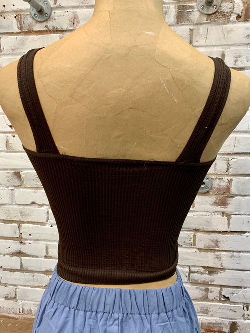 Chelsea Crop Tank in Dark Brown