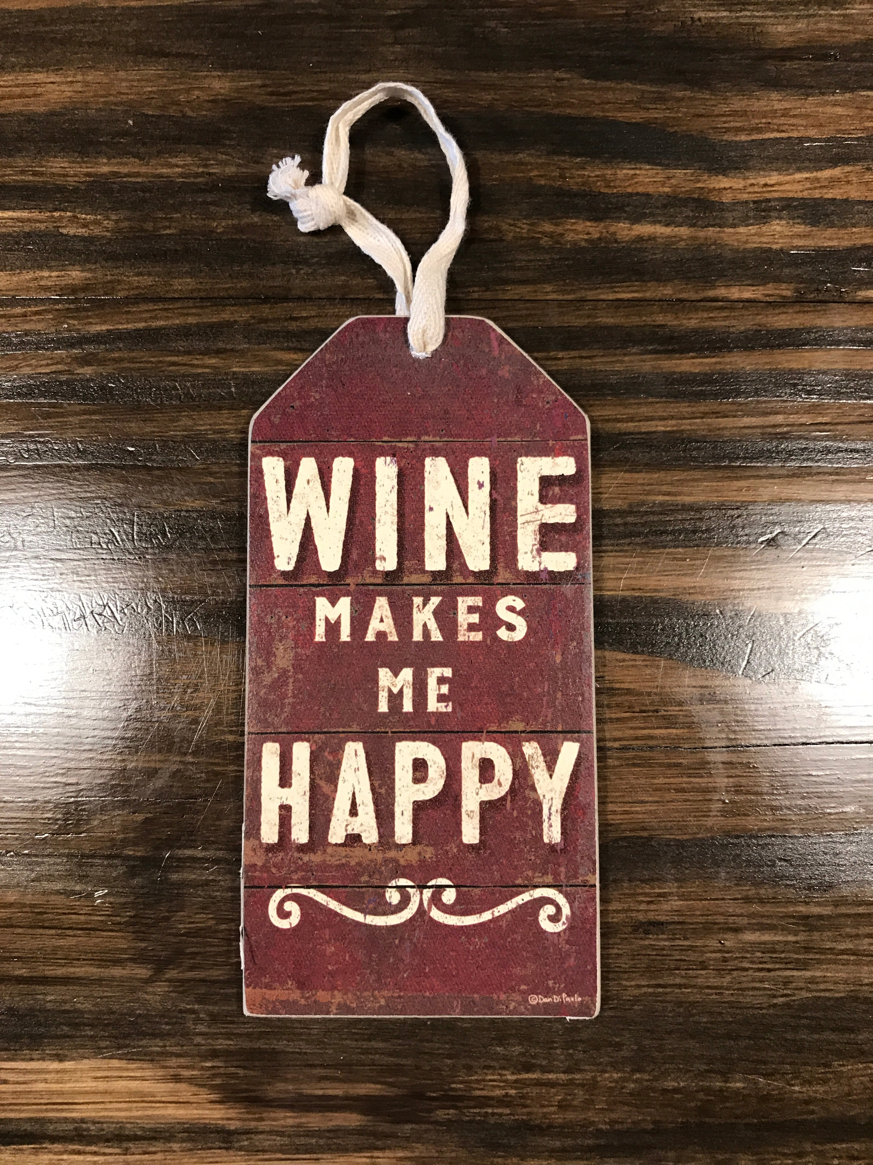 Wine Makes Me Happy Bottle Tag