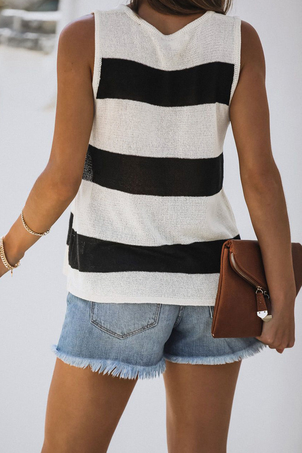 Summer Stripe Tank Top in Black & White