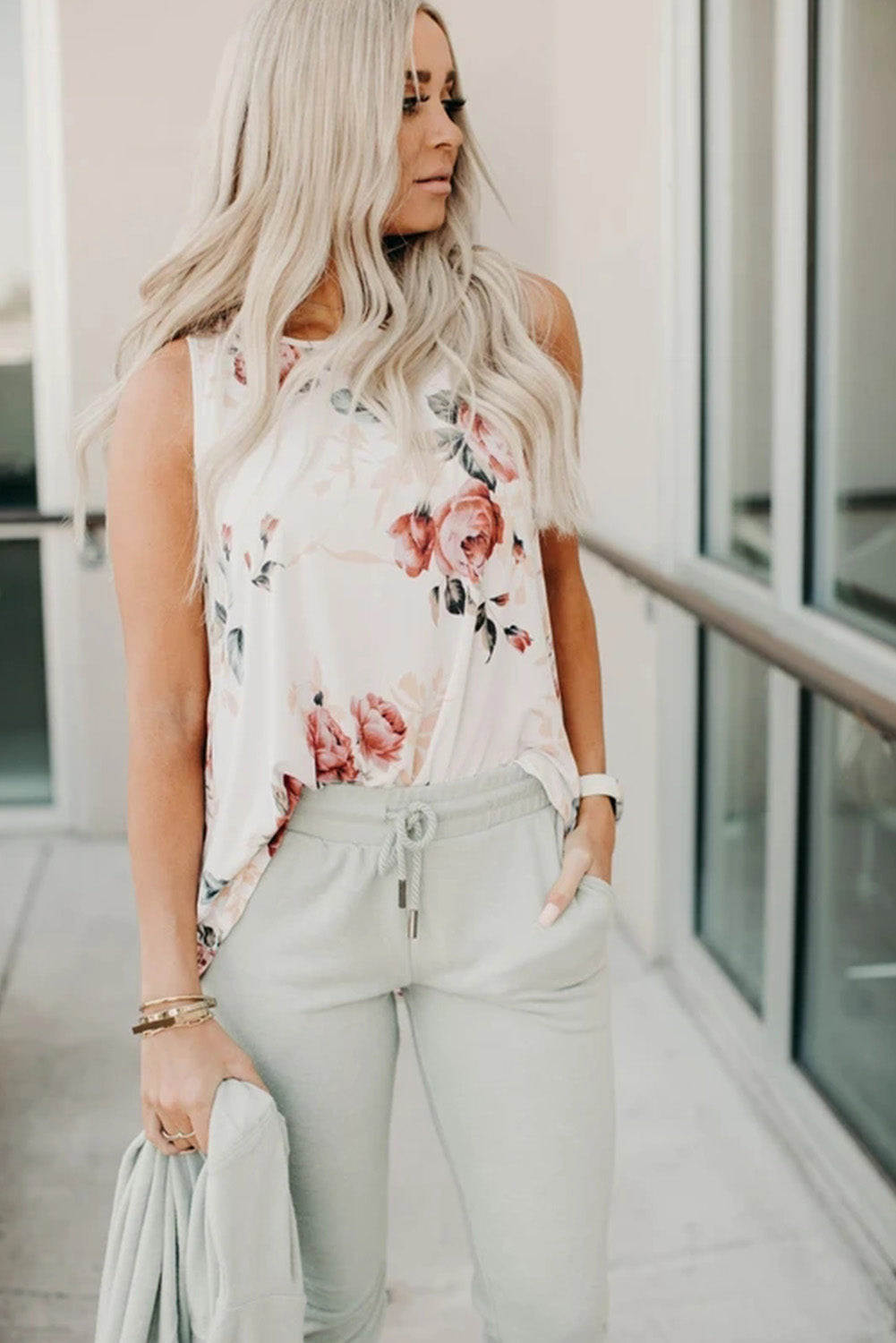 Floral Tank in White