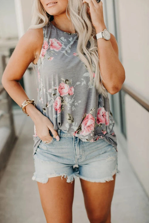 Floral Tank in Grey