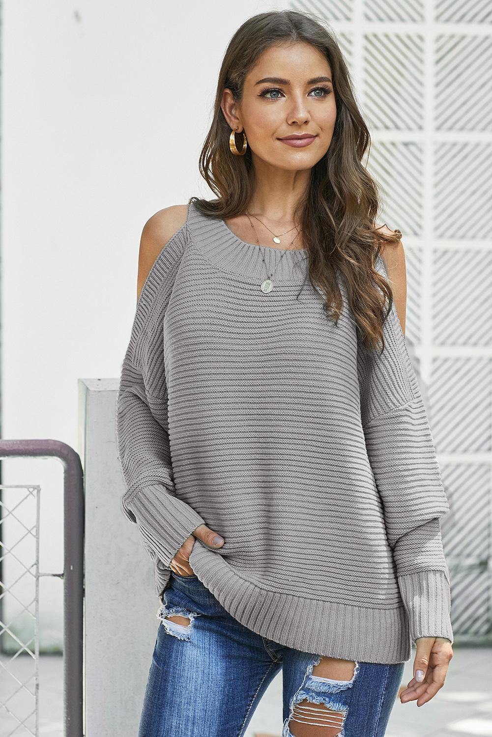 Evelyn Cold Shoulder Sweater in Grey