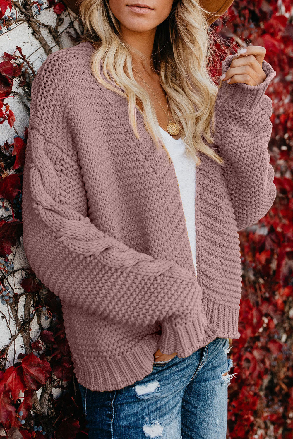 Perkins Chunky Cardigan in Mauve